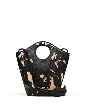 Elizabeth and James Market Small Leather Shopper Tote Bag, Black/Natural