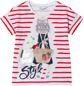 Mayoral Red Stripe Fashion Girl Tee