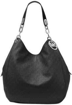 Michael Kors Women's Fulton Large Shoulder Tote Leather Bag - Black - BLACK - STYLE
