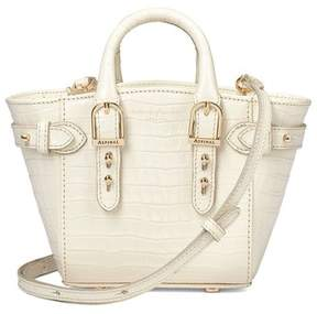 Aspinal of London Micro Marylebone Tote Deep Shine Ivory Small Croc