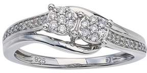 Armani Exchange Jewelry Diamond Two-stone Promise Ring In Sterling Silver (0.20cts, Ij I2-i3).