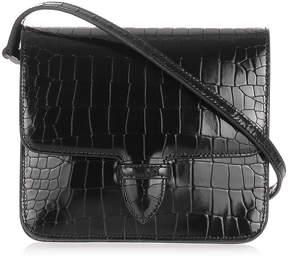 Alaia Patent black croc-embossed satchel