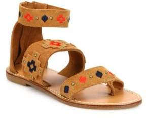 Soludos Embroidered Suede Sandals