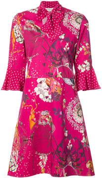 Etro tied neck mixed floral dress