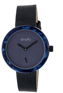 Simplify The 3700 SIM3704 Blue and Navy Leather Analog Watch