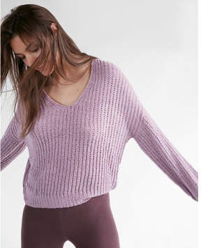Express cozy v-neck chenille shaker knit sweater