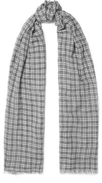 Isabel Marant Woody Checked Wool Scarf - Gray