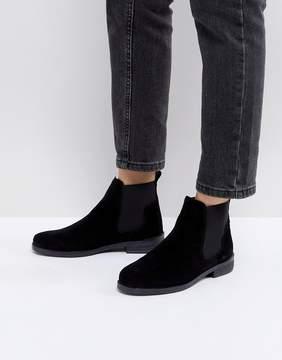 Office Jamie Black Suede Flat Chelsea Boots