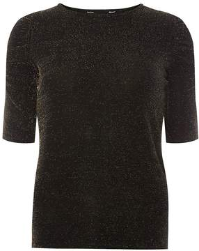 Dorothy Perkins Black Sparkle Ruched Sleeve Top