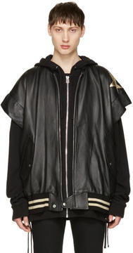 Faith Connexion Black Leather Stars Bomber Jacket