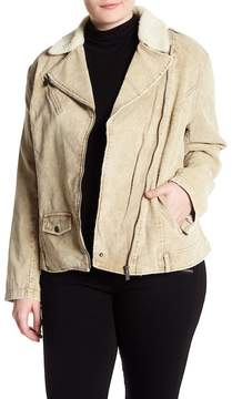 Blanc Noir BNCI by Faux Shearling Trim Faux Suede Asymmetrical Jacket (Plus Size)