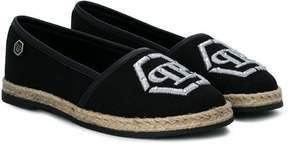 Philipp Plein Junior embroidered logo espadrilles