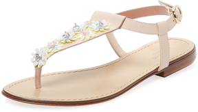 RED Valentino Women's Floral Leather T-Strap Sandal
