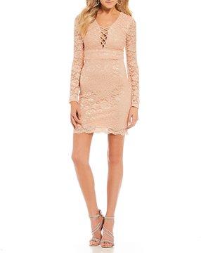 B. Darlin Criss-Cross Front Lace Sheath Dress