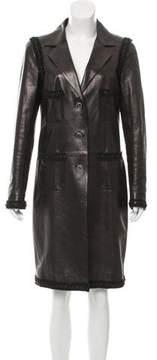 Chanel Fringe-Trimmed Leather Coat