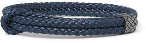 Bottega Veneta Intrecciato Leather Oxidised Silver Bracelet