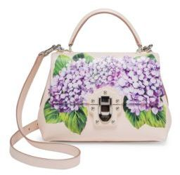 Dolce & Gabbana Lucia Hydrangea-Print Leather Top Handle Bag - CREAM - STYLE