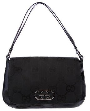 Gucci Leather-Trimmed Canvas Handle Bag - BLACK - STYLE