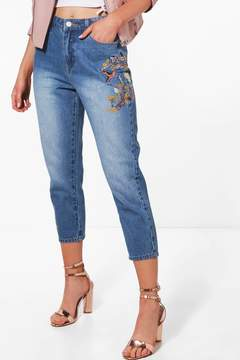 boohoo Petite Embroidered Mom Jean