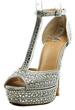 Thalia Sodi Flor Women Open Toe Canvas Silver Platform Sandal.