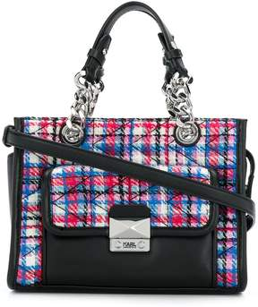 Karl Lagerfeld quilted tweed mini tote