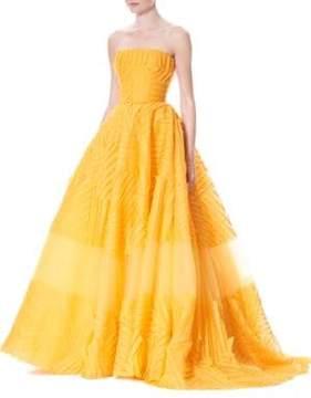 Carolina Herrera Strapless Silk Organza Ball Gown