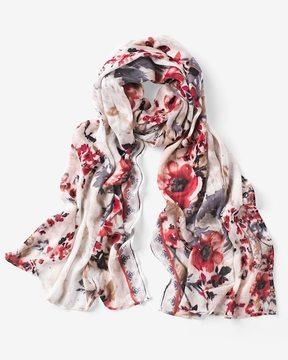 White House Black Market Floral Sequin Oblong Scarf