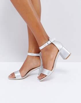 Glamorous Silver Block Mid Heeled Sandals