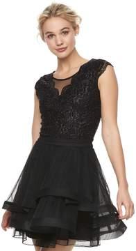 Speechless Juniors' Glitter Lace Tiered Dress