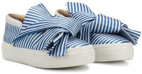 No.21 Kids striped bow detail sneakers