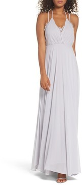 LuLu*s Women's Celebrate The Moment Lace Trim Chiffon Maxi Dress