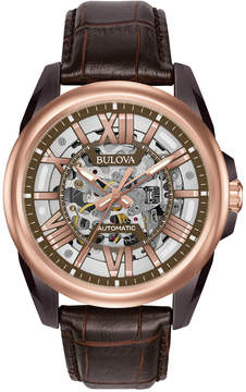 Bulova Men's Automatic Chronograph Precisionist Brown Leather Strap Watch 45mm 98A165