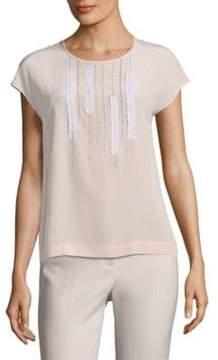 Peserico Cap-Sleeve Silk Top