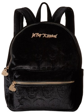 Betsey Johnson Head of The Class Velvet Skulls Backpack Backpack Bags