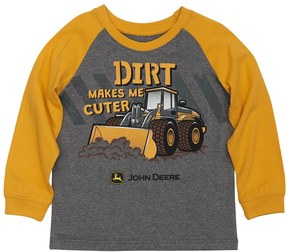 John Deere Toddler Boy Dirt Makes Me Cuter Raglan Tee