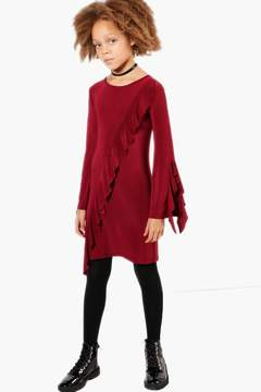 boohoo Girls Ruffle Sleeve Asymetric Hem Dress