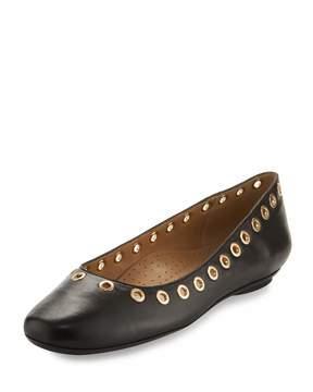 Neiman Marcus Sabri Leather Grommet-Trimmed Flat, Multi