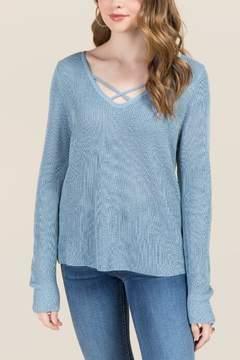 Ami Mi Breanna Lattice Pullover Sweater - Oxford Blue