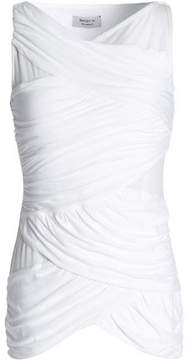 Bailey 44 Tulle-Paneled Ruched Jersey Top