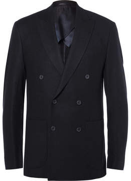 Hardy Amies Blue Slim-Fit Double-Breasted Cashmere Blazer