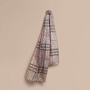 Burberry Patchwork Floral Check Wool Silk Scarf