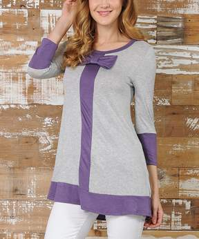 Celeste Heather Gray & Lilac Bow-Accent Tunic - Women