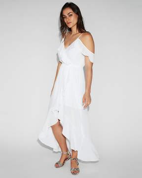 Express Ruffle Wrap Cold Shoulder Maxi Dress