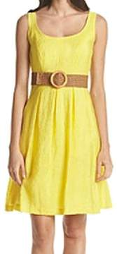Nine West Yellow Women's Size 16 Burnout Belted Sheath Flare Dress