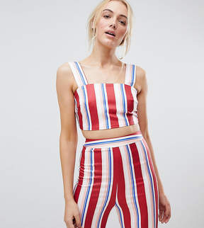 Fashion Union Tall Crop Top In Stripe Two-Piece