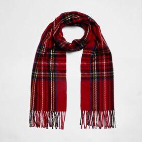 River Island Womens Red plaid check scarf