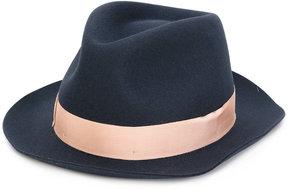 Borsalino contrast ribbon fedora hat