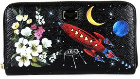 Dolce & Gabbana Portable Zip Around In Printed Leather - BLACK - STYLE