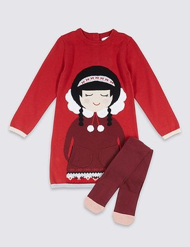 Marks and Spencer 2 Piece Knitted Dress with Tights (3 Months - 6 Years)
