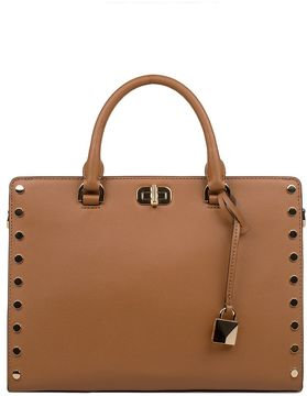 Michael Kors Luggage Sylvie Satchel Leather Top Handle Bag - BROWN - STYLE